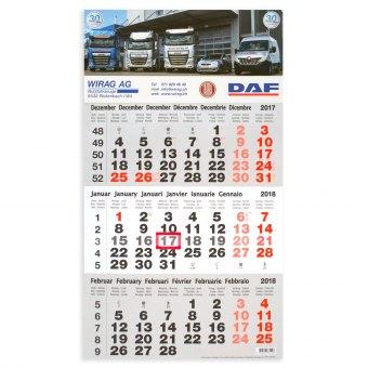 3-Monatskalender Kopfteil bedruckt mit Ihrem Logo/Bild