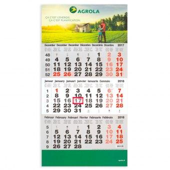 3-Monatskalender Kopf- und Fussteil bedruckt mit Ihrem Logo/Bild