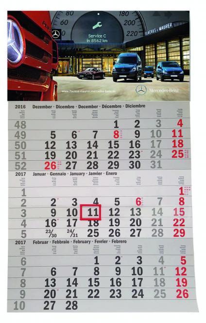 3-Monatskalender mit Ihrem Logo/Bild
