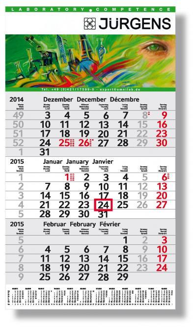 3-Monatskalender Kopf- und Fussteil bedruckt